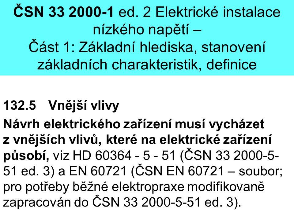 ČSN 33 2000-1 ed. 2 Elektrické instalace nízkého napětí – Část 1: Základní hlediska, stanovení základních charakteristik, definice 132.5 Vnější vlivy