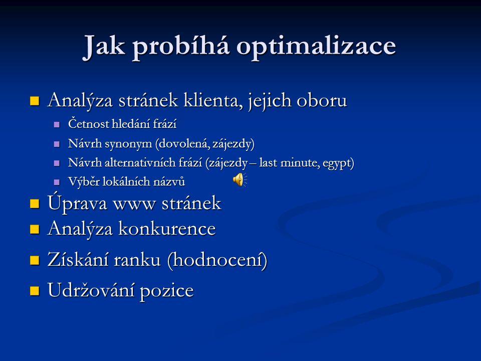 Jak probíhá optimalizace  Analýza stránek klienta, jejich oboru  Četnost hledání frází  Návrh synonym (dovolená, zájezdy)  Návrh alternativních frází (zájezdy – last minute, egypt)  Výběr lokálních názvů  Úprava www stránek  Analýza konkurence  Získání ranku (hodnocení)  Udržování pozice