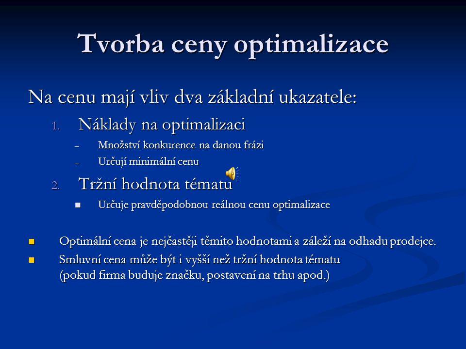 Tvorba ceny optimalizace Na cenu mají vliv dva základní ukazatele: 1.