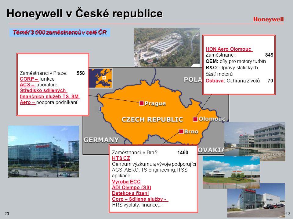 13 HTS Honeywell v České republice Téměř 3 000 zaměstnanců v celé ČR HON Aero Olomouc Zaměstnanci: 849 OEM: díly pro motory turbín R&O: Opravy statick