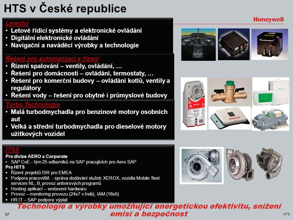 17 HTS HTS v České republice Technologie a výrobky umožňující energetickou efektivitu, snížení emisí a bezpečnost Řešení pro automatizaci a řízení •Ří