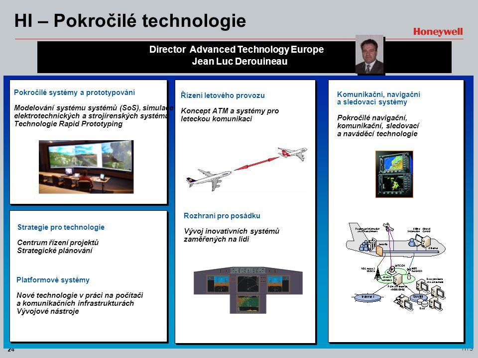 24 HTS HI – Pokročilé technologie Director Advanced Technology Europe Jean Luc Derouineau Pokročilé systémy a prototypování Modelování systému systémů
