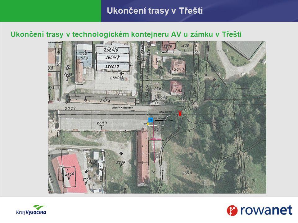 Ukončení trasy v Třešti Ukončení trasy v technologickém kontejneru AV u zámku v Třešti