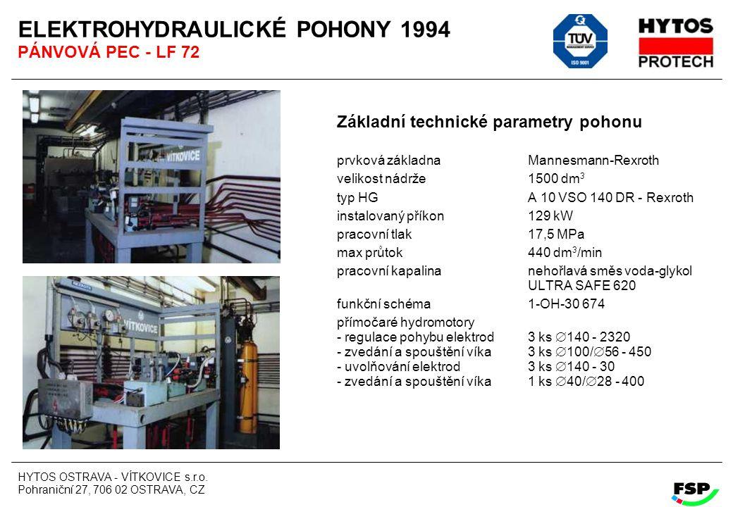 HYTOS OSTRAVA - VÍTKOVICE s.r.o. Pohraniční 27, 706 02 OSTRAVA, CZ ELEKTROHYDRAULICKÉ POHONY 1994 PÁNVOVÁ PEC - LF 72 Základní technické parametry poh