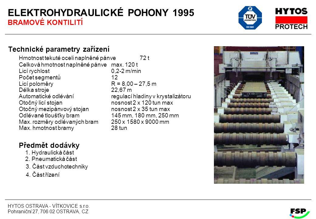 HYTOS OSTRAVA - VÍTKOVICE s.r.o. Pohraniční 27, 706 02 OSTRAVA, CZ ELEKTROHYDRAULICKÉ POHONY 1995 BRAMOVÉ KONTILITÍ Technické parametry zařízení Hmotn
