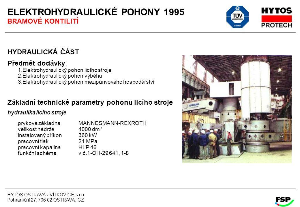 HYTOS OSTRAVA - VÍTKOVICE s.r.o. Pohraniční 27, 706 02 OSTRAVA, CZ ELEKTROHYDRAULICKÉ POHONY 1995 BRAMOVÉ KONTILITÍ HYDRAULICKÁ ČÁST Předmět dodávky.