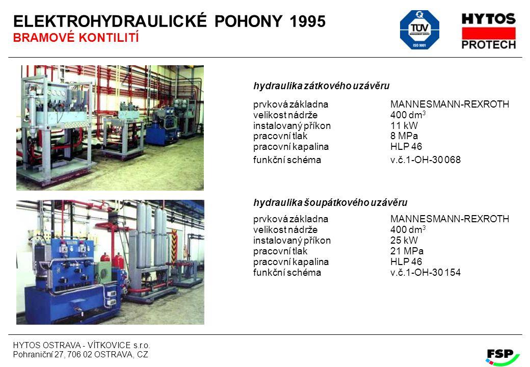 HYTOS OSTRAVA - VÍTKOVICE s.r.o. Pohraniční 27, 706 02 OSTRAVA, CZ ELEKTROHYDRAULICKÉ POHONY 1995 BRAMOVÉ KONTILITÍ hydraulika zátkového uzávěru prvko