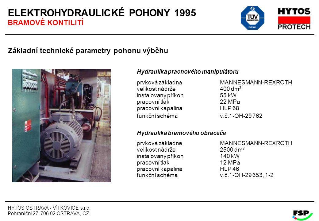 HYTOS OSTRAVA - VÍTKOVICE s.r.o. Pohraniční 27, 706 02 OSTRAVA, CZ ELEKTROHYDRAULICKÉ POHONY 1995 BRAMOVÉ KONTILITÍ Základní technické parametry pohon