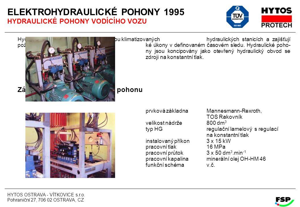 HYTOS OSTRAVA - VÍTKOVICE s.r.o. Pohraniční 27, 706 02 OSTRAVA, CZ ELEKTROHYDRAULICKÉ POHONY 1995 HYDRAULICKÉ POHONY VODÍCÍHO VOZU Hydraulické pohony