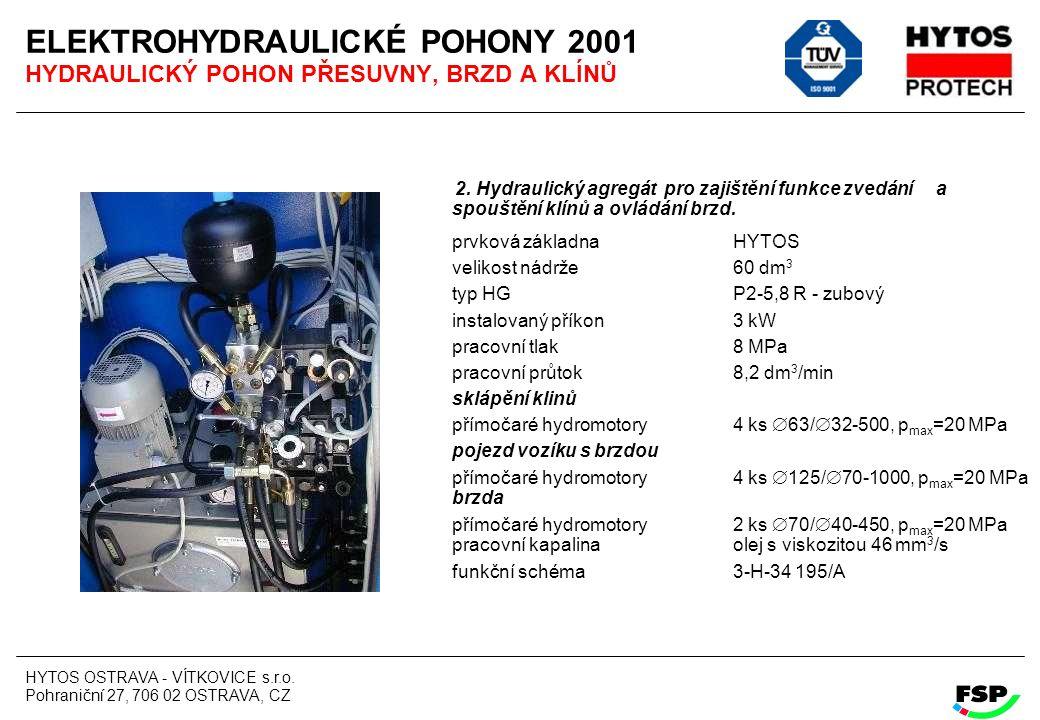 HYTOS OSTRAVA - VÍTKOVICE s.r.o. Pohraniční 27, 706 02 OSTRAVA, CZ ELEKTROHYDRAULICKÉ POHONY 2001 HYDRAULICKÝ POHON PŘESUVNY, BRZD A KLÍNŮ 2. Hydrauli