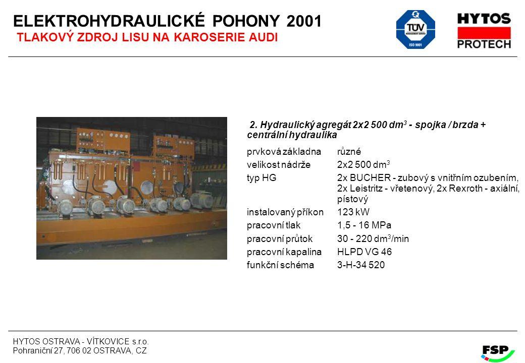 HYTOS OSTRAVA - VÍTKOVICE s.r.o. Pohraniční 27, 706 02 OSTRAVA, CZ ELEKTROHYDRAULICKÉ POHONY 2001 TLAKOVÝ ZDROJ LISU NA KAROSERIE AUDI 2. Hydraulický