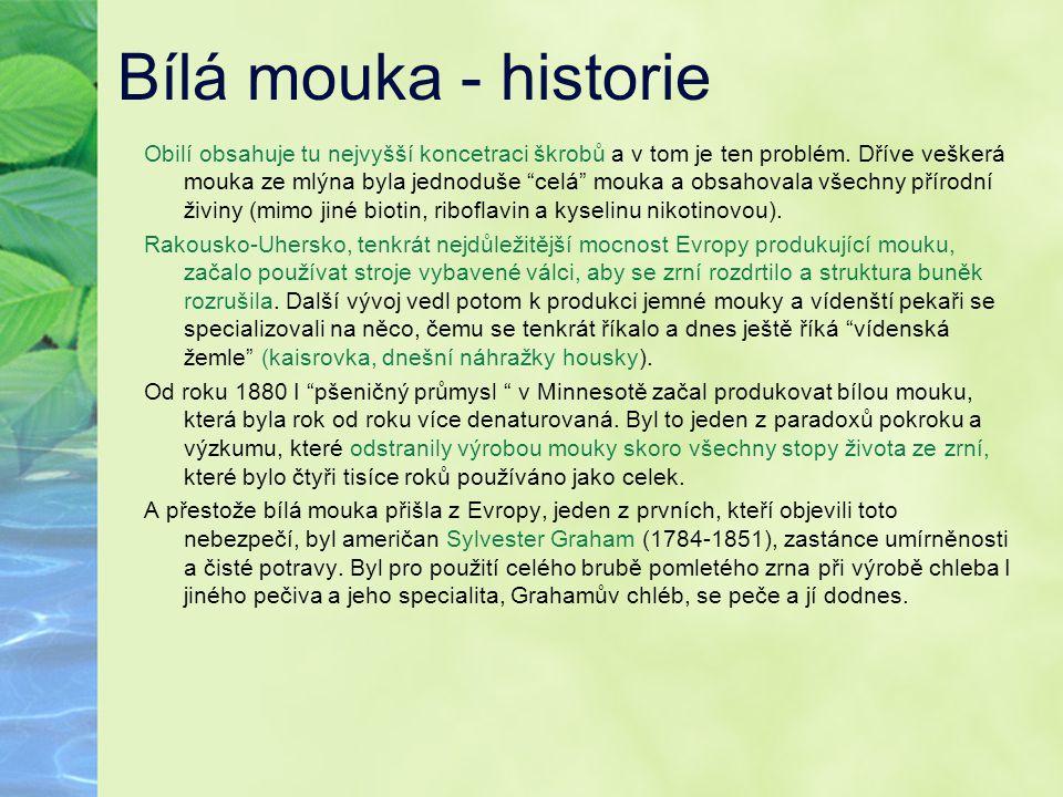 """Bílá mouka - historie Obilí obsahuje tu nejvyšší koncetraci škrobů a v tom je ten problém. Dříve veškerá mouka ze mlýna byla jednoduše """"celá"""" mouka a"""