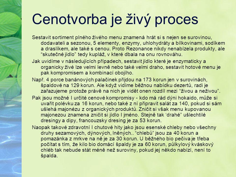 Cenotvorba je živý proces Sestavit sortiment plného živého menu znamená hrát si s nejen se surovinou, dodavateli a sezonou, 5 elementy, enzymy, uhlohy