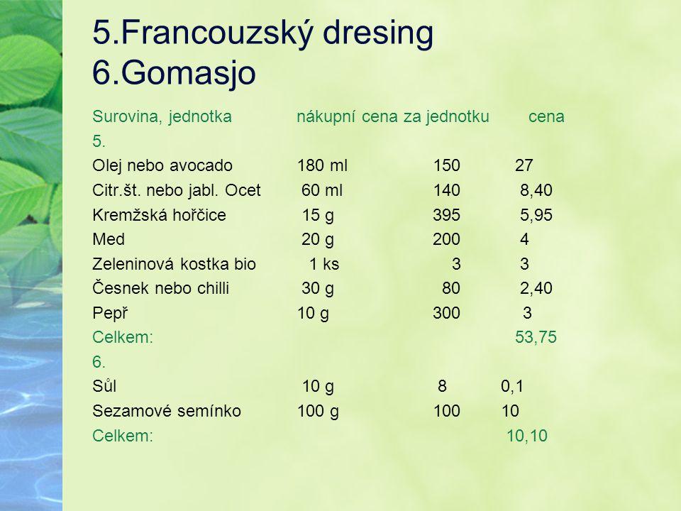5.Francouzský dresing 6.Gomasjo Surovina, jednotkanákupní cena za jednotku cena 5. Olej nebo avocado180 ml150 27 Citr.št. nebo jabl. Ocet 60 ml140 8,4