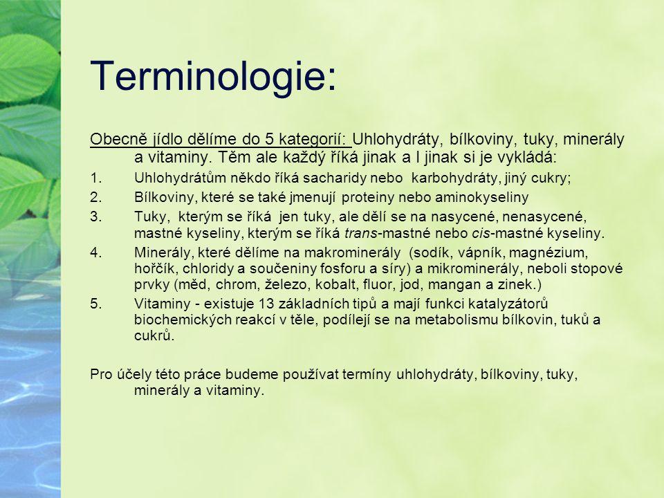 Terminologie: Obecně jídlo dělíme do 5 kategorií: Uhlohydráty, bílkoviny, tuky, minerály a vitaminy. Těm ale každý říká jinak a I jinak si je vykládá: