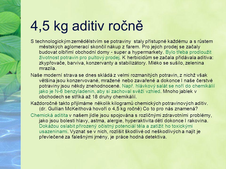 4,5 kg aditiv ročně S technologickým zemědělstvím se potraviny staly přístupné každému a s růstem městských aglomerací skončil nákup z farem. Pro jeji