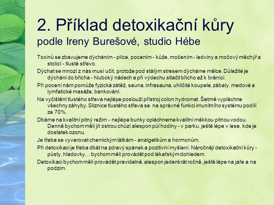 2. Příklad detoxikační kůry podle Ireny Burešové, studio Hébe Toxinů se zbavujeme dýcháním - plíce, pocením - kůže, močením - ledviny a močový měchýř