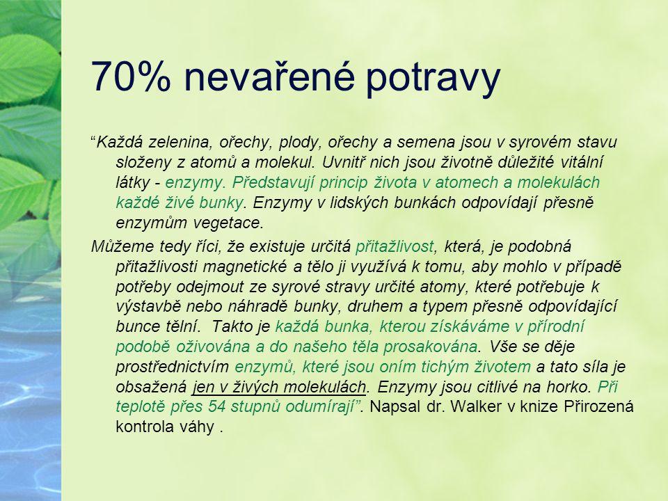 """70% nevařené potravy """"Každá zelenina, ořechy, plody, ořechy a semena jsou v syrovém stavu složeny z atomů a molekul. Uvnitř nich jsou životně důležité"""