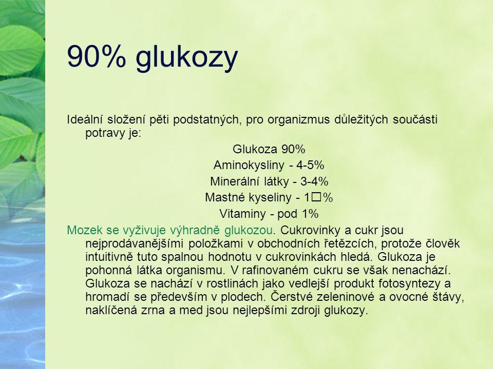 90% glukozy Ideální složení pěti podstatných, pro organizmus důležitých součásti potravy je: Glukoza 90% Aminokysliny - 4-5% Minerální látky - 3-4% Ma
