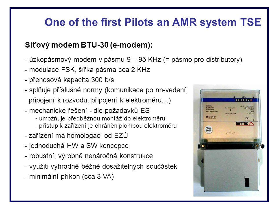 Síťový modem BTU-30 (e-modem): - úzkopásmový modem v pásmu 9  95 KHz (= pásmo pro distributory) - modulace FSK, šířka pásma cca 2 KHz - přenosová kap