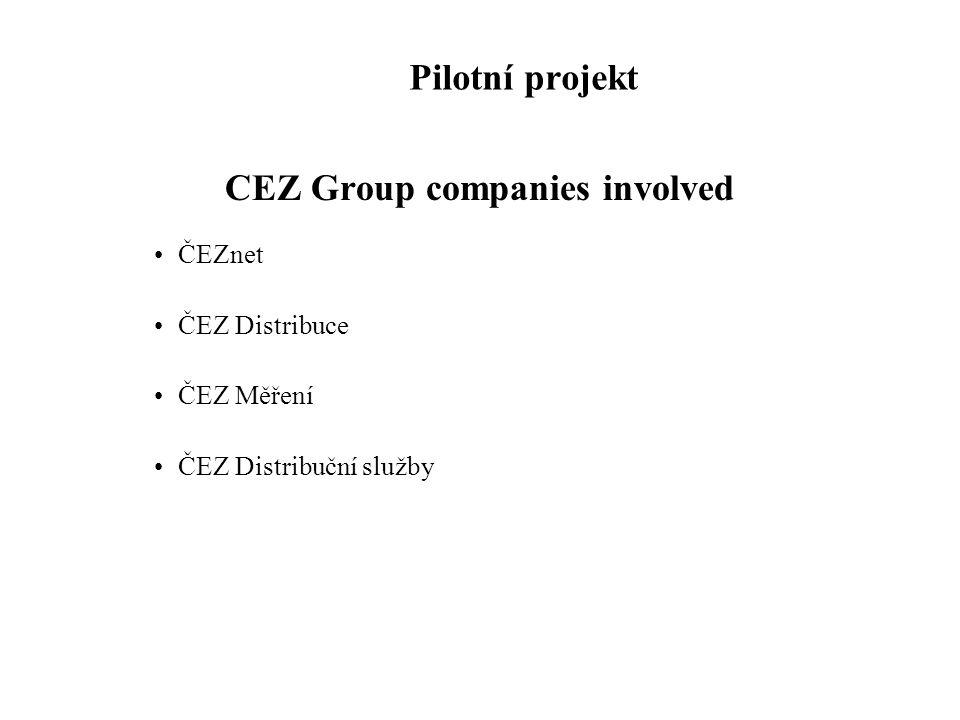 Pilotní projekt CEZ Group companies involved •ČEZnet •ČEZ Distribuce •ČEZ Měření •ČEZ Distribuční služby