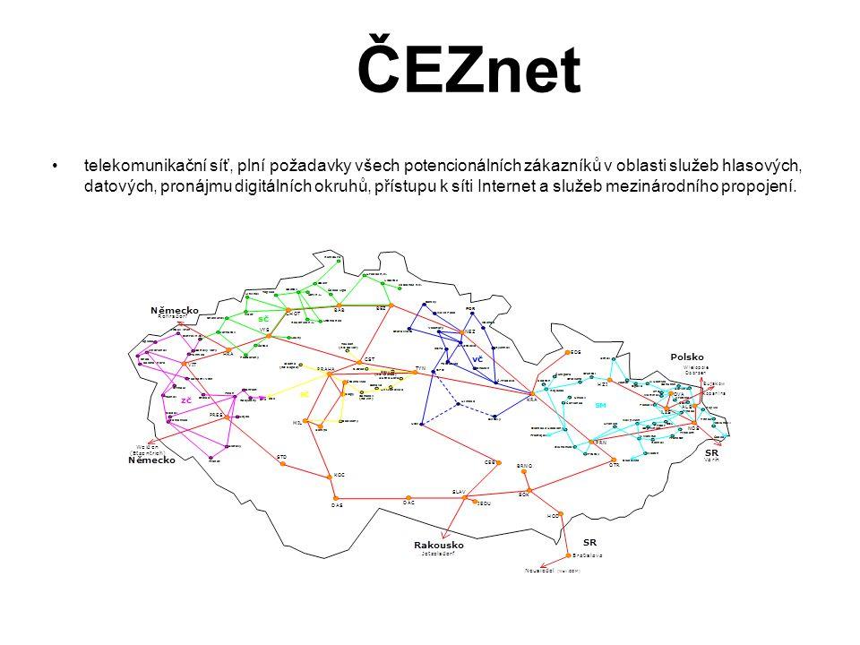 ČEZnet •telekomunikační síť, plní požadavky všech potencionálních zákazníků v oblasti služeb hlasových, datových, pronájmu digitálních okruhů, přístup