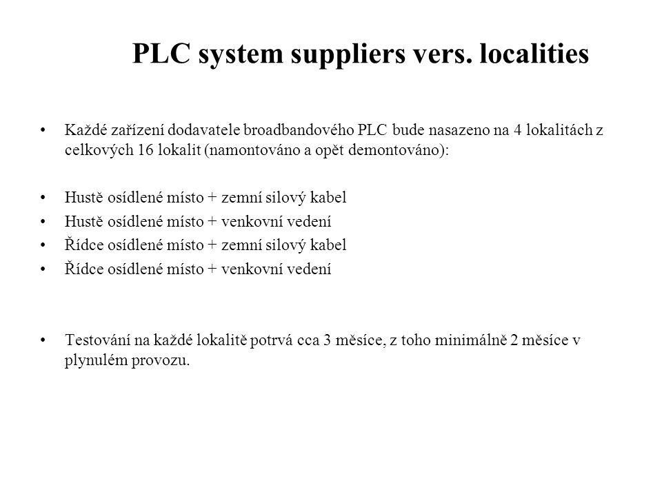 PLC system suppliers vers. localities •Každé zařízení dodavatele broadbandového PLC bude nasazeno na 4 lokalitách z celkových 16 lokalit (namontováno