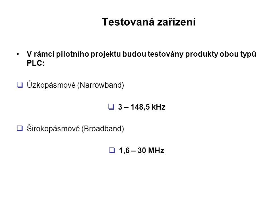 Testovaná zařízení •V rámci pilotního projektu budou testovány produkty obou typů PLC:  Úzkopásmové (Narrowband)  3 – 148,5 kHz  Širokopásmové (Bro