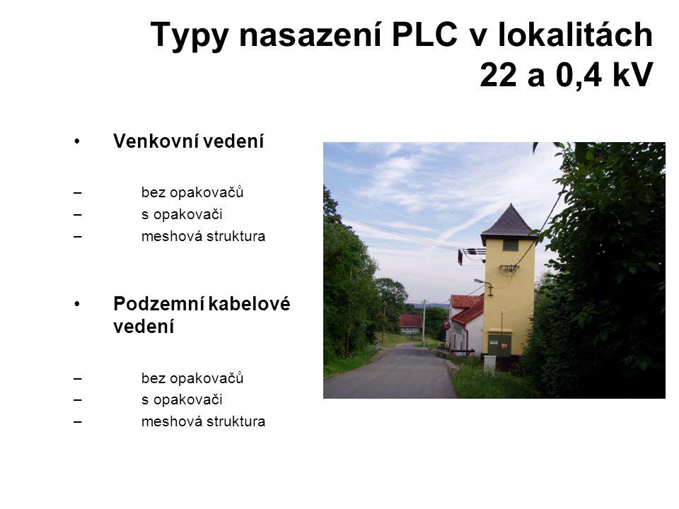Typy nasazení PLC v lokalitách 22 a 0,4 kV •Venkovní vedení –bez opakovačů –s opakovači –meshová struktura •Podzemní kabelové vedení –bez opakovačů –s