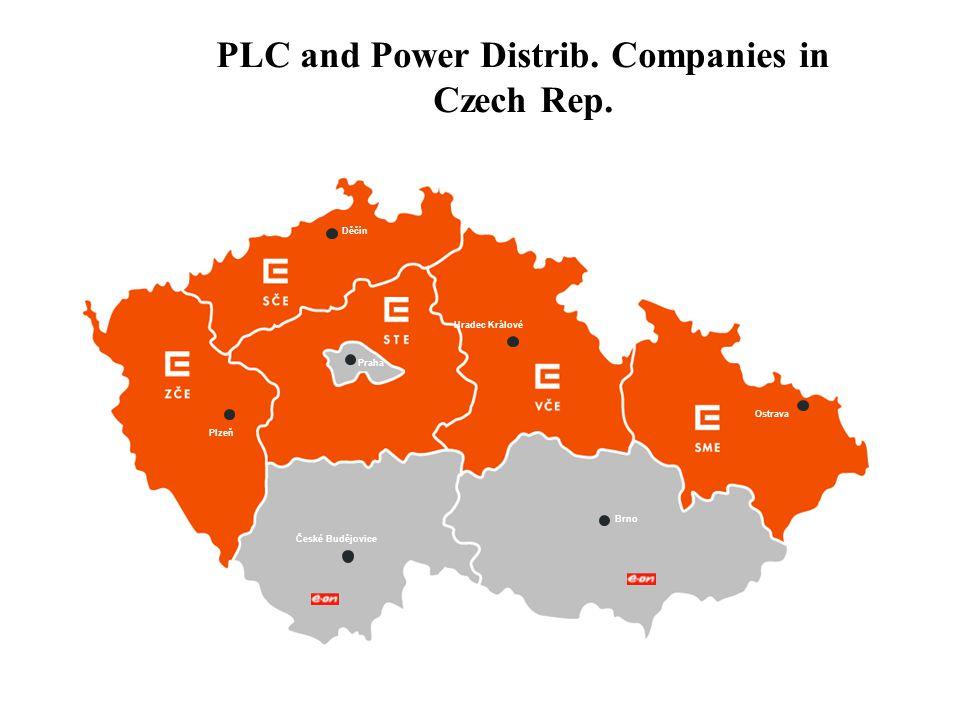 PLC and Power Distrib. Companies in Czech Rep. Děčín Plzeň České Budějovice Hradec Králové Brno Ostrava Praha