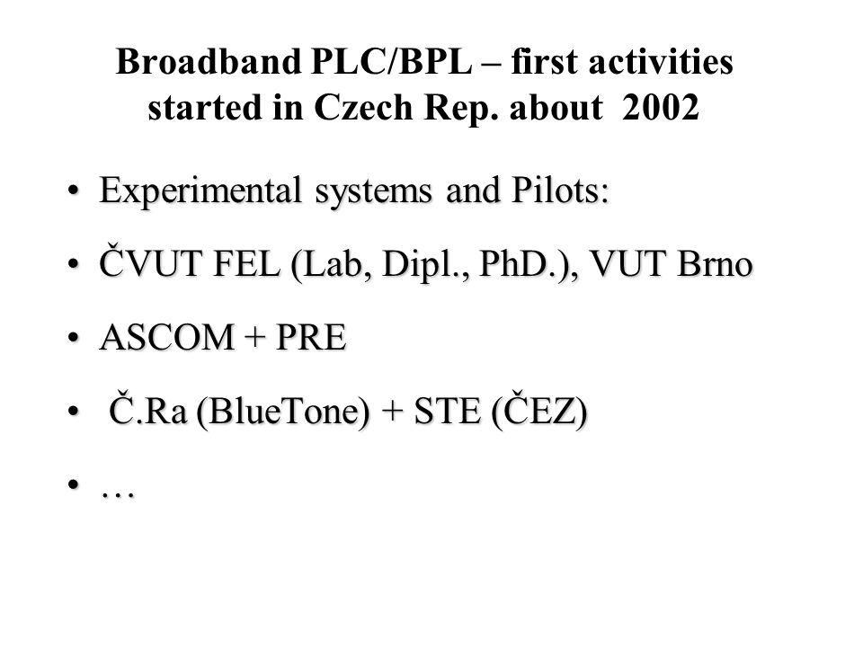 Institute of Telecommunication Engineering, CTU in Prague - Faculty of Electrical Engineering •Experimental LV networks for PLC Measurements –měření přenosových vlastností –vliv elektroměrů a dalších prvků na přenos signálu •Elektromagnetical compatibility –měření elektromagnetické interference BPL modemů do energetické sítě –měření elektromagnetické odolnosti BPL modemů •Testing in real environment –měření na měděných a hliníkových rozvodech