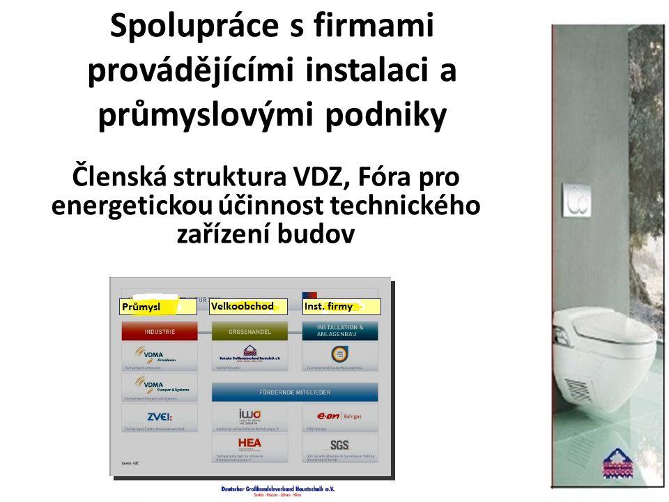Spolupráce s firmami provádějícími instalaci a průmyslovými podniky Členská struktura VDZ, Fóra pro energetickou účinnost technického zařízení budov