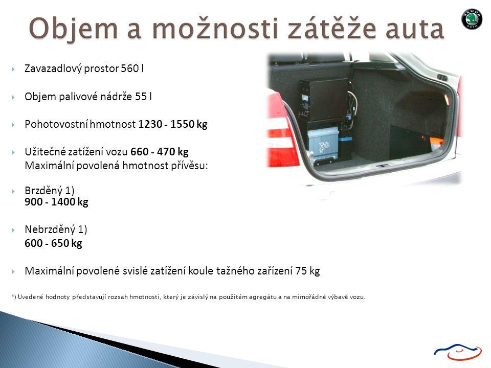  Zavazadlový prostor 560 l  Objem palivové nádrže 55 l  Pohotovostní hmotnost 1230 - 1550 kg  Užitečné zatížení vozu 660 - 470 kg Maximální povolená hmotnost přívěsu:  Brzděný 1) 900 - 1400 kg  Nebrzděný 1) 600 - 650 kg  Maximální povolené svislé zatížení koule tažného zařízení 75 kg *) Uvedené hodnoty představují rozsah hmotnosti, který je závislý na použitém agregátu a na mimořádné výbavě vozu.