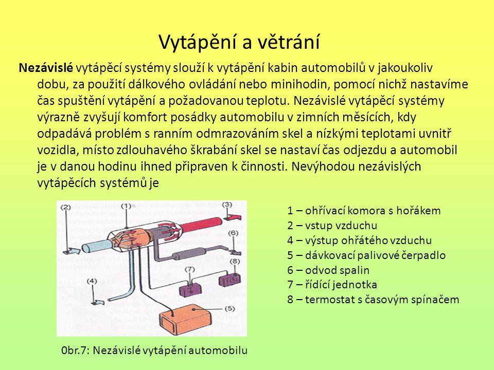 Vytápění a větrání Nezávislé vytápěcí systémy slouží k vytápění kabin automobilů v jakoukoliv dobu, za použití dálkového ovládání nebo minihodin, pomo