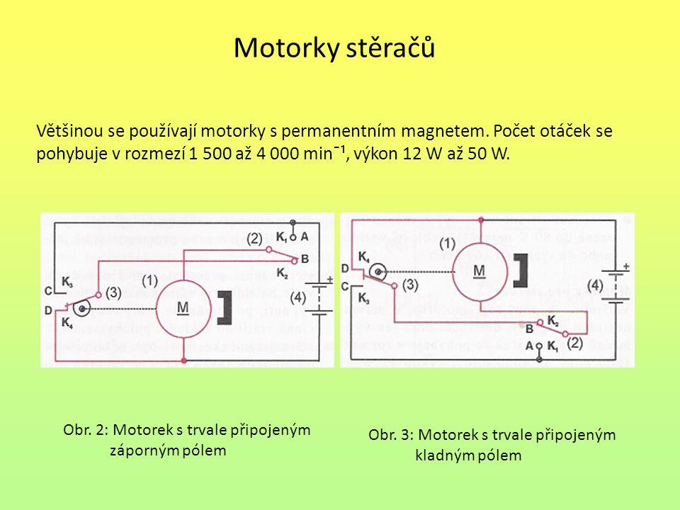 Motorky stěračů Většinou se používají motorky s permanentním magnetem. Počet otáček se pohybuje v rozmezí 1 500 až 4 000 min¯¹, výkon 12 W až 50 W. Ob