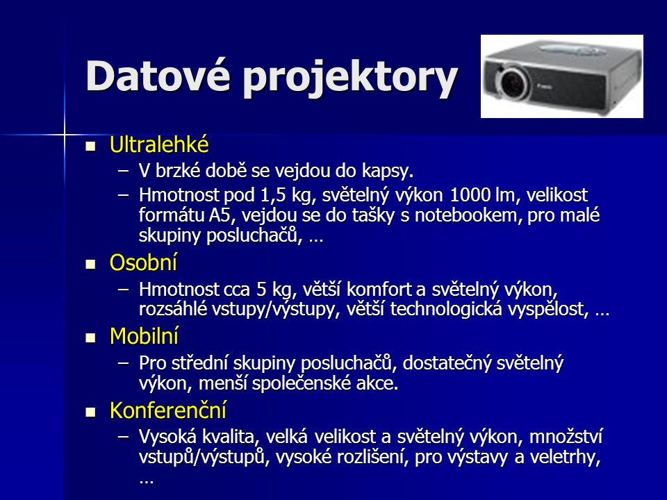 Datové projektory  Ultralehké –V brzké době se vejdou do kapsy.