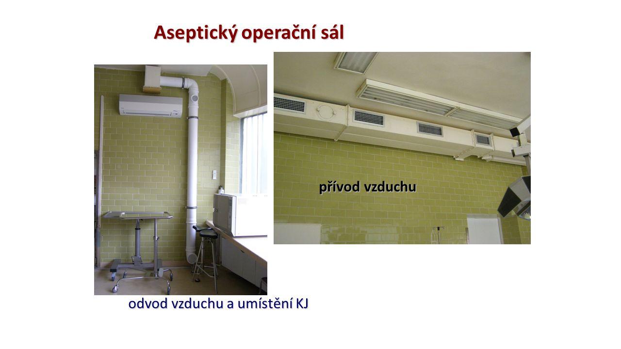 Aseptický operační sál přívod vzduchu odvod vzduchu a umístění KJ