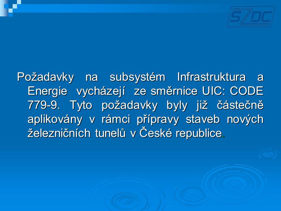 Požadavky na subsystém Infrastruktura a Energie vycházejí ze směrnice UIC: CODE 779-9. Tyto požadavky byly již částečně aplikovány v rámci přípravy st