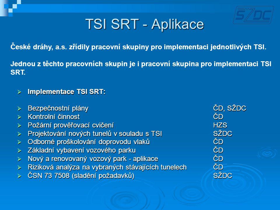 TSI SRT - Aplikace  Implementace TSI SRT:  Bezpečnostní plány ČD, SŽDC  Kontrolní činnost ČD  Požární prověřovací cvičeníHZS  Projektování nových