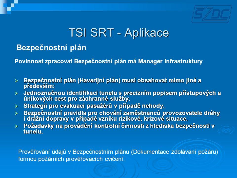TSI SRT - Aplikace  Bezpečnostní plán (Havarijní plán) musí obsahovat mimo jiné a především:  Jednoznačnou identifikaci tunelu s precizním popisem p