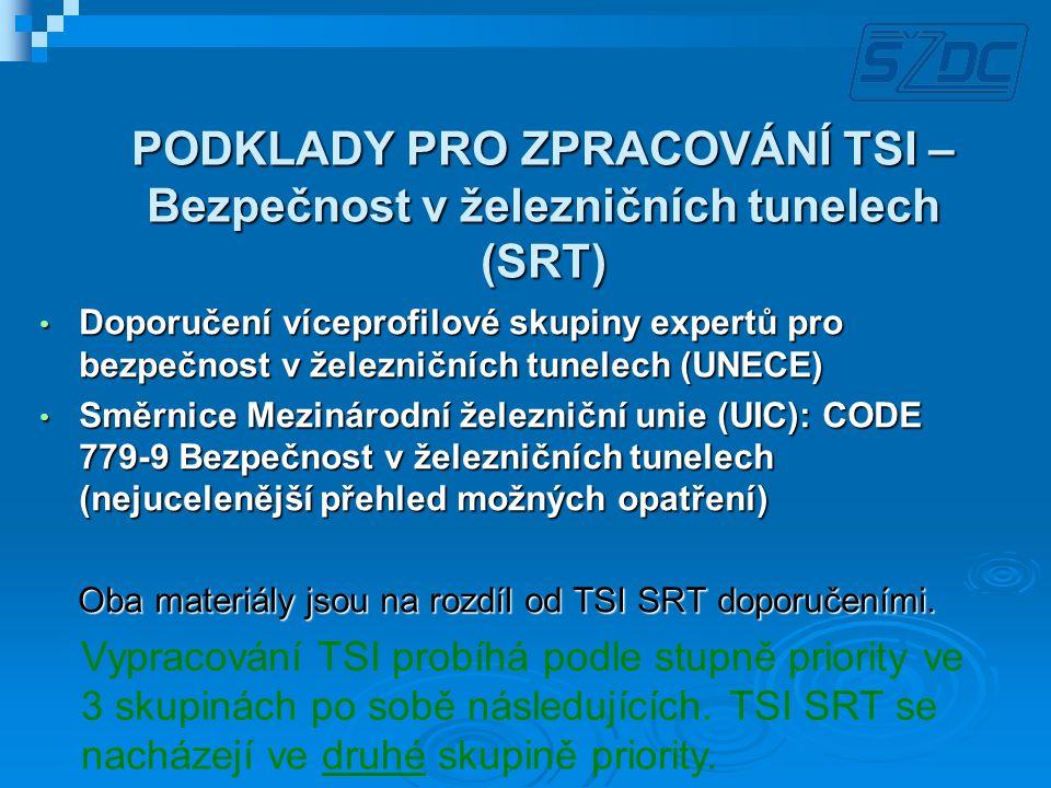 TSI SRT – Rozsah určení  V plném rozsahu platí pro tunely s délkami od 1 do 20 km  Pro tunely kratší jak 1 km pouze pokud je přímo stanoveno příslušným předpisem  U tunelů s délkou nad 20 km se předpokládá nutnost dodatečného šetření Požadavky TSI SRT by měly být aplikovány u novostaveb i při rekonstrukcích