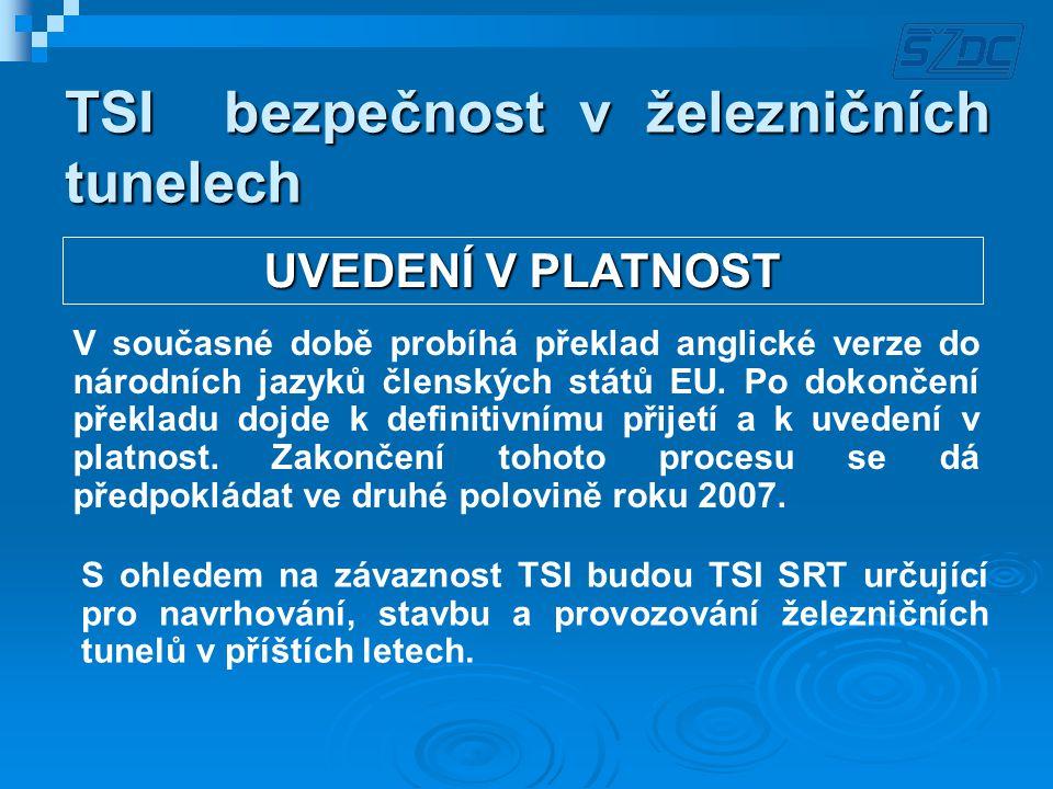 TSI bezpečnost v železničních tunelech V současné době probíhá překlad anglické verze do národních jazyků členských států EU. Po dokončení překladu do