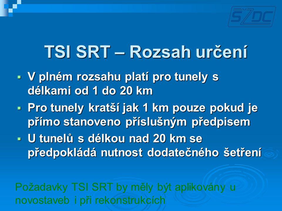 TSI SRT – Rozsah určení  V plném rozsahu platí pro tunely s délkami od 1 do 20 km  Pro tunely kratší jak 1 km pouze pokud je přímo stanoveno přísluš
