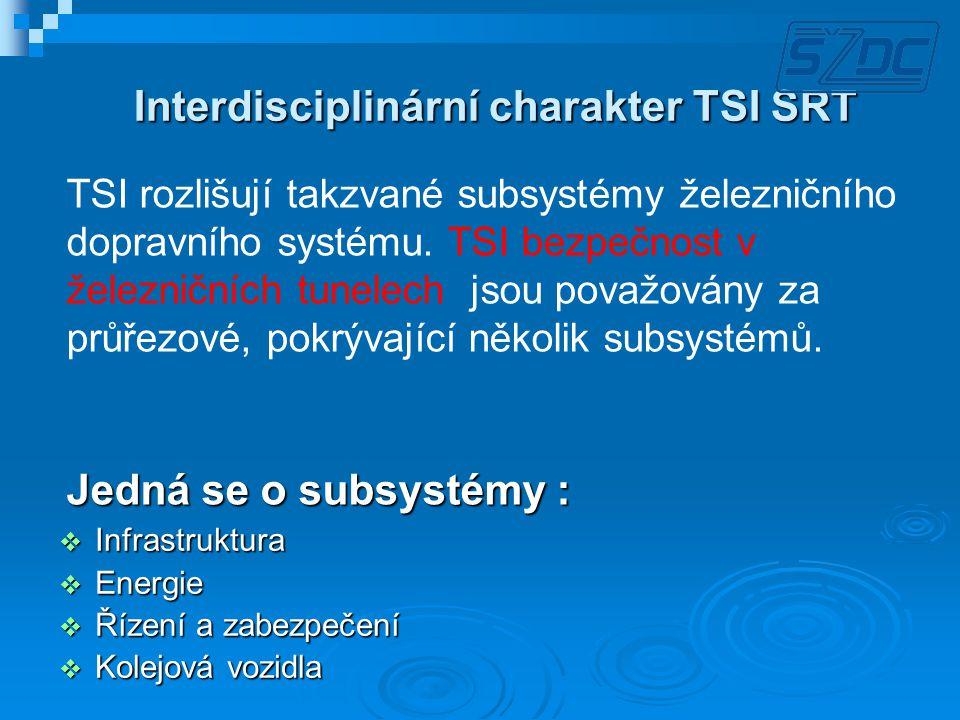 VYBRANÉ POŽADAVKY TSI SRT subsystém Infrastruktura Tunely následující za sebou jsou považovány za jeden, pokud:  Vzdálenost mezi za sebou následujícími portály (volný prostor mezi portály) je menší než 500 m  Ve volném prostoru mezi tunely není zajištěn volný přístup do bezpečného místa Definice bezpečného místa: Místo uvnitř nebo vně tunelu, kde jsou splněna všechna následující kritéria: - Podmínky jsou vhodné k přežití - Podmínky jsou vhodné k přežití - Přístup pro lidi je umožněn s pomocí druhých i bez jejich pomocí - Přístup pro lidi je umožněn s pomocí druhých i bez jejich pomocí - Lidé se mohou pokusit o sebezáchranu nebo mohou na tomto místě vyčkat na záchranu speciálním týmem - Lidé se mohou pokusit o sebezáchranu nebo mohou na tomto místě vyčkat na záchranu speciálním týmem - Musí být zajištěna komunikace s kontrolním centrem pevným spojením nebo mobilním telefonem - Musí být zajištěna komunikace s kontrolním centrem pevným spojením nebo mobilním telefonem