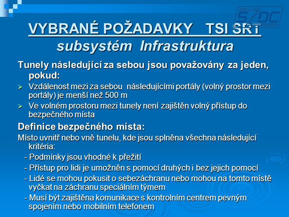 VYBRANÉ POŽADAVKY TSI SRT subsystém Infrastruktura Tunely následující za sebou jsou považovány za jeden, pokud:  Vzdálenost mezi za sebou následující