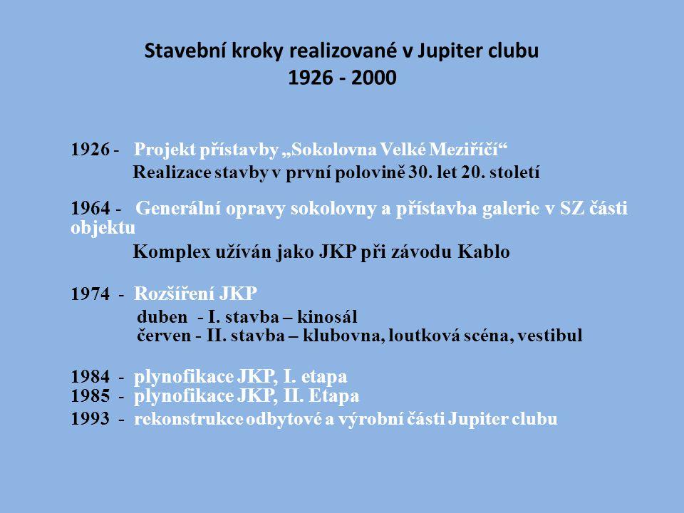 """Stavební kroky realizované v Jupiter clubu 1926 - 2000 1926 - Projekt přístavby """"Sokolovna Velké Meziříčí Realizace stavby v první polovině 30."""