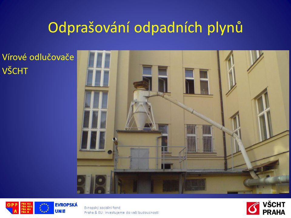 Evropský sociální fond Praha & EU: Investujeme do vaší budoucnosti Odprašování odpadních plynů Vírové odlučovače VŠCHT