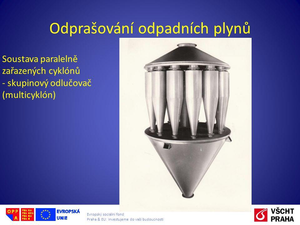 Evropský sociální fond Praha & EU: Investujeme do vaší budoucnosti Odprašování odpadních plynů Soustava paralelně zařazených cyklónů - skupinový odluč