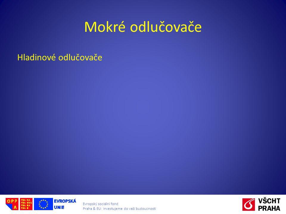 Evropský sociální fond Praha & EU: Investujeme do vaší budoucnosti Mokré odlučovače Hladinové odlučovače
