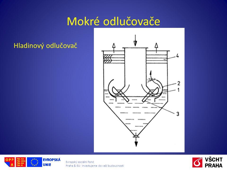 Evropský sociální fond Praha & EU: Investujeme do vaší budoucnosti Mokré odlučovače Hladinový odlučovač